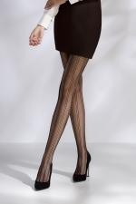 Collants résille TI040 - noir : Paire de collants en résille noire soulignée de lignes verticales.