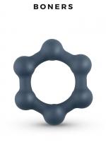 Cockring Hexagonal avec billes en acier - Boners : Anneau pénien en forme d'hexagone en silicone extensible équipé de 6 billes stimulantes en acier.