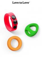 Kit Neon Ring - Love to Love : 3 cockrings en silicone ultra doux et couleur fluo pour varier les plaisirs.