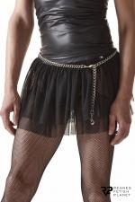 Mini jupe noire en maille transparente - Regnes : Mini-jupe en résille fabriquée en Europe par la marque Regnes.