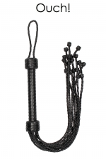 Fouet court 9 lanières - Ouch! : Fouet court en cuir noir tressé avec 9 lanières à double tressage pour procurer des sensations ultimes, par Ouch!