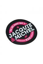 Ecusson rond Jacquie et Michel : Ecusson rond 8 cm, brodé On dit merci qui? Merci Jacquie & Michel , à coudre sur votre vêtement favori.