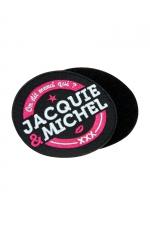 Ecusson rond velcro Jacquie et Michel : Ecusson rond brodé On dit merci qui? Merci Jacquie & Michel, diamètre 8 cm, avec dos Velcro.
