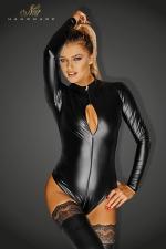Body Monarch - Body wetlook manches longues, avec un triple zip intégral qui s'ouvre jusqu'aux fesses.