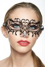 Masque vénitien Spirit 4 : Masque vénitien en métal incrusté de strass, deux ailes mystérieuses capturent votre regard.