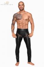 Pantalon wetlook et filet H059 : Pantalon moulant en powerwetlook mat et empiècements transparents de filet 3D, tout cela ultra sexy !